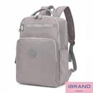 【i Brand】輕盈防潑水素色雙拉鍊尼龍後背包(大)-灰色 MDS-8612L-GR