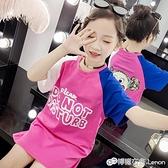 女童T恤 女童新款夏裝純棉短袖中長款T恤兒童韓版洋氣中大童體恤衫潮