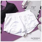 Catworld 排釦設計防走光雙層運動短褲【14001220】‧S/M/L