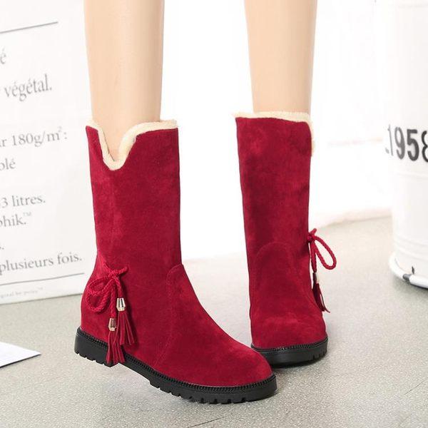 2018冬季款厚底內增高韓版女鞋中筒靴兩穿女靴子馬丁靴棉靴雪地靴「爆米花」