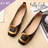 大尺碼女鞋-凱莉密碼-超柔軟淺口方扣奶奶鞋1cm(41-43)【ELN2-60】黑色