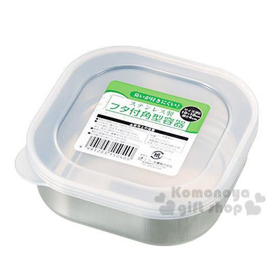 〔小禮堂〕金屬株式會社 不鏽鋼密封罐《銀.透明蓋.方形》 4991203-15040