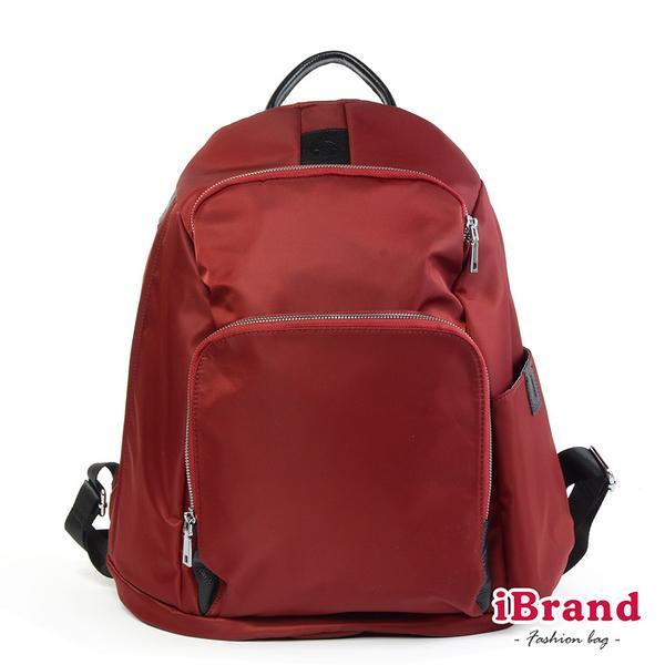 iBrand後背包 率性時尚後開式防盜尼龍後背包(L)-酒紅色 HS-2001