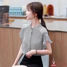 襯衫 條紋雪紡女裝夏季2020年新款潮流女短袖時尚氣質洋氣打底小衫【8折搶購】