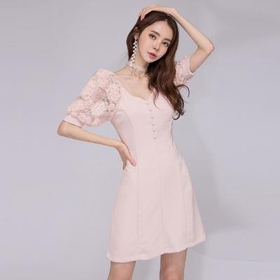 OL洋裝S-XL3686#夏新款韓版優雅氣質V領蕾絲拼接泡泡袖高腰修身連身裙NA71紅粉佳人