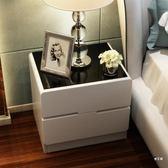 床頭櫃玻璃面烤漆床頭櫃 簡約現代儲物櫃 臥室床邊櫃白色收納 整裝XW(中秋烤肉鉅惠)