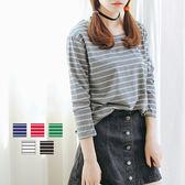 ☆ENTER☆長袖T恤 條紋彩色學院風百搭長袖T恤【RA958】