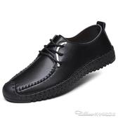 男士平底爸爸皮鞋工作舒適休閒鞋子軟底軟皮中年繫帶手工單鞋男鞋 阿卡娜