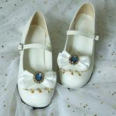 洛麗塔Lolita洋裝鞋子蝴蝶結低粗跟圓頭【聚寶屋】