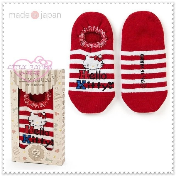 小花花日本精品♥ Hello Kitty 日本 紅白條紋 盒裝 保暖襪 成人 短襪 22-24CM 77713803