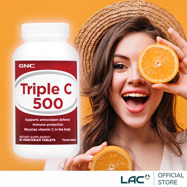 【LAC利維喜】GNC健安喜 三效維生素C500食品錠90錠