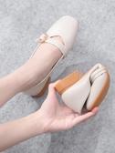 低跟鞋 單鞋女年夏季平底百搭春款方頭低跟淺口鞋子豆豆鞋奶奶鞋 芊墨左岸