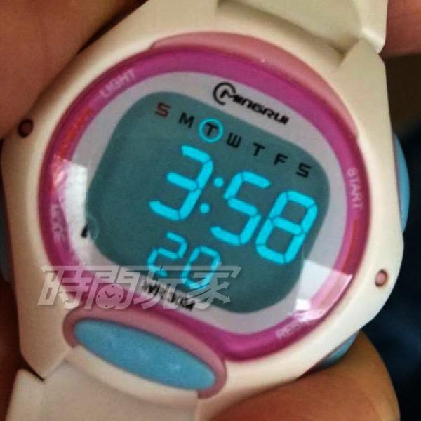 MINGRUI 繽紛活力 多色搭配 多功能 計時碼表 電子錶 學生錶 兒童手錶 女錶 日期 MR8207白