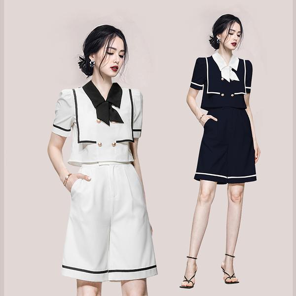 VK旗艦店 韓系線條蝴蝶結雙排釦寬口褲套裝短袖褲裝