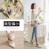 Ann'S心動美學-腳背弧線勾帶粗跟尖頭鞋-米白