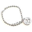 【奢華時尚】GUCCI Interlocking G 925純銀雙G墜飾珠珠手鍊