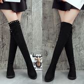 膝上靴 冬季韓版平底長筒靴女彈力靴加絨過膝長靴平跟高筒女靴棉鞋子