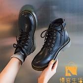 英倫風馬丁靴女單靴低幫休閒小個子短靴【慢客生活】