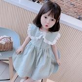 網紅格子女童洋裝夏裝2021新款洋氣兒童裙子韓版女孩翻領公主裙 幸福第一站