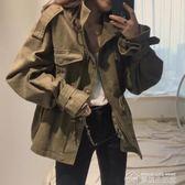 風衣女秋季新款韓國chic復古百搭工裝寬鬆休閒口袋收腰風衣外套女  夢想生活家