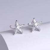 耳環 925純銀鑲鑽-華麗海星情人節生日禮物女飾品73hk46【時尚巴黎】