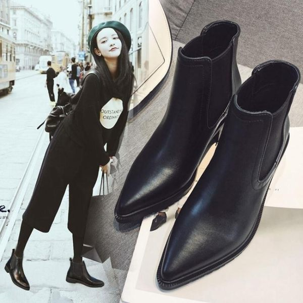 現貨清出切爾西靴短靴短百搭筒單靴女靴子尖頭粗跟踝靴女鞋子潮「優購時尚」2-9