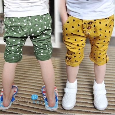 【R3419】shiny藍格子-嬰幼館.夏裝新款男童圓點翻腳褲子