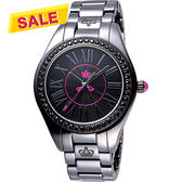 Juicy Couture 美麗俏佳人陶瓷晶鑽腕錶-黑 J1900745