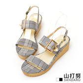 涼鞋 文青千鳥格珍珠釦飾楔型鞋-山打努SANDARU【036021#46】