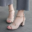 魚口鞋 2021夏季新款網紅同款涼鞋女百搭一字扣魚嘴粗跟高跟時尚羅馬女鞋