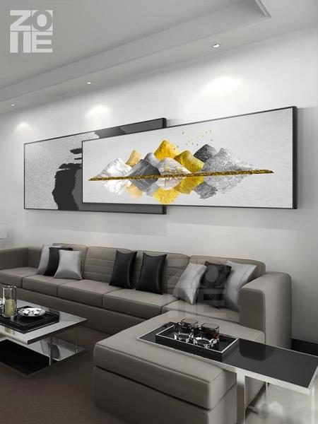 現代輕奢大氣客廳裝飾畫沙發背景牆掛畫招財橫版牆面裝飾壁畫MBS「時尚彩紅屋」