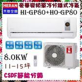 CSPF【HERAN 禾聯】8.0KW 11-15坪 一對一 變頻單冷空調《HI-GP801/HO-GP801》主機板7年保固