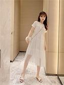 小仙裝女裝A字裙亮片網紗短袖裙子學生韓版寬鬆中長款連身裙 夏季上新