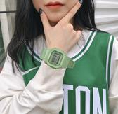 手錶獨角獸手錶女ins風學生原宿風網紅牛油果綠抹茶綠方塊方形電子表【雙十二快速出貨八折】