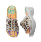 環保PU底*金屬環飾/舒適內裡--THE ONE 氣墊鞋/拖鞋(全牛皮)-A08812 灰