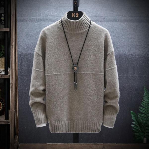 秋冬季中領內搭穿保暖上衣服男韓版潮流半高領毛衣打底羊毛針織衫 小山好物