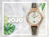 【時間道】NATURALLY JOJO  時尚典雅晶鑽腕錶 / 白貝殼面黑晶鑽板帶(JO96942-81R)免運費