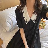 出清388 韓國風復古刺繡娃娃領V領花紋雪紡短袖洋裝