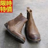 真皮中筒靴-做舊擦色瘋馬皮革牛皮男馬丁靴2色67q14【巴黎精品】