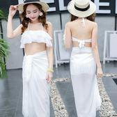 泳衣  泳衣女保守學生分體溫泉三件套遮肚子韓國學生小香風可愛性感顯瘦 MM87 『小美日記』