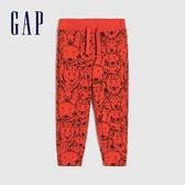 Gap男幼童 童趣印花鬆緊休閒褲 442430-火焰紅