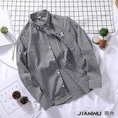韓版修身寸衫男帥氣休閒學生潮流條紋襯衣