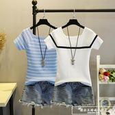 夏季條紋緊身針織短袖女2018新款冰絲薄款一字領t恤短款上衣『韓女王』