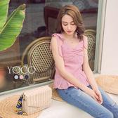 東京著衣【YOCO】糖果女孩多色V領抓皺肩綁帶背心-XS.S.M(6012941)