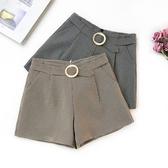 短褲 格紋 圓環 壓摺 後拉鍊 寬管褲 百搭 短褲