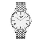 ◆TISSOT◆TRADITION 5.5 簡約大三針石英腕錶T063.409.11.018.00 白x銀