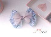 蜜諾菈Minerva‧專屬設計優雅小花壓布條雪紗蝴蝶結髮夾髮飾款‧編號00428