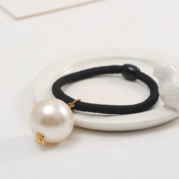 【TwinS伯澄】《簡約單大珍珠髮圈》韓國髮飾橡皮筋扎馬尾簡約上班族基本款-單圈款