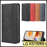 【萌萌噠】LG K51S / K61 復古紋商務款 錢包式側翻皮套 可插卡磁吸 全包軟殼 手機殼 手機套