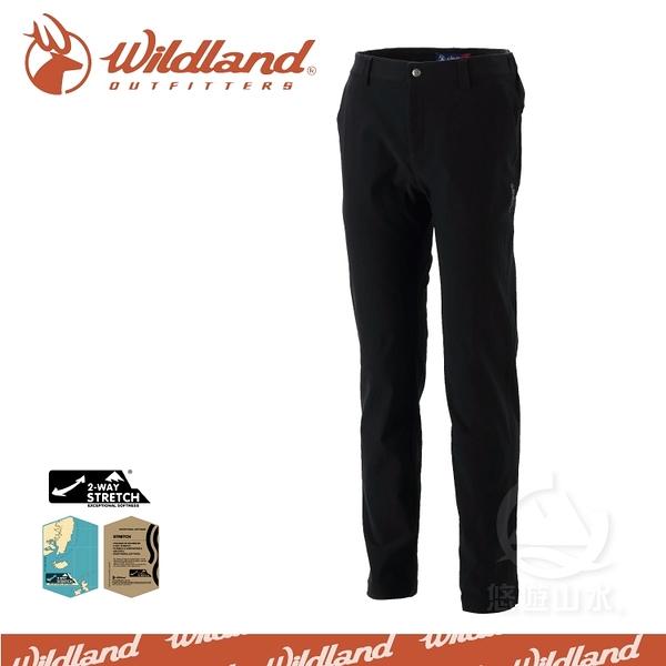 【Wildland 荒野 男 RE彈性合身保暖長褲《黑》】0A32392-54/保暖機能褲/工作褲/爬山健行戶外休閒褲